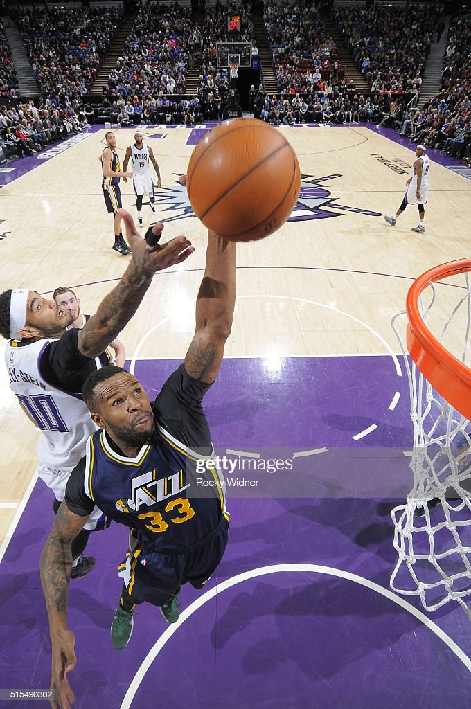 Trevor Booker of the Utah Jazz shoots the ball against the Sacramento Kings at Sleep Train Arena on March 13 2016 in Sacramento California NOTE TO...