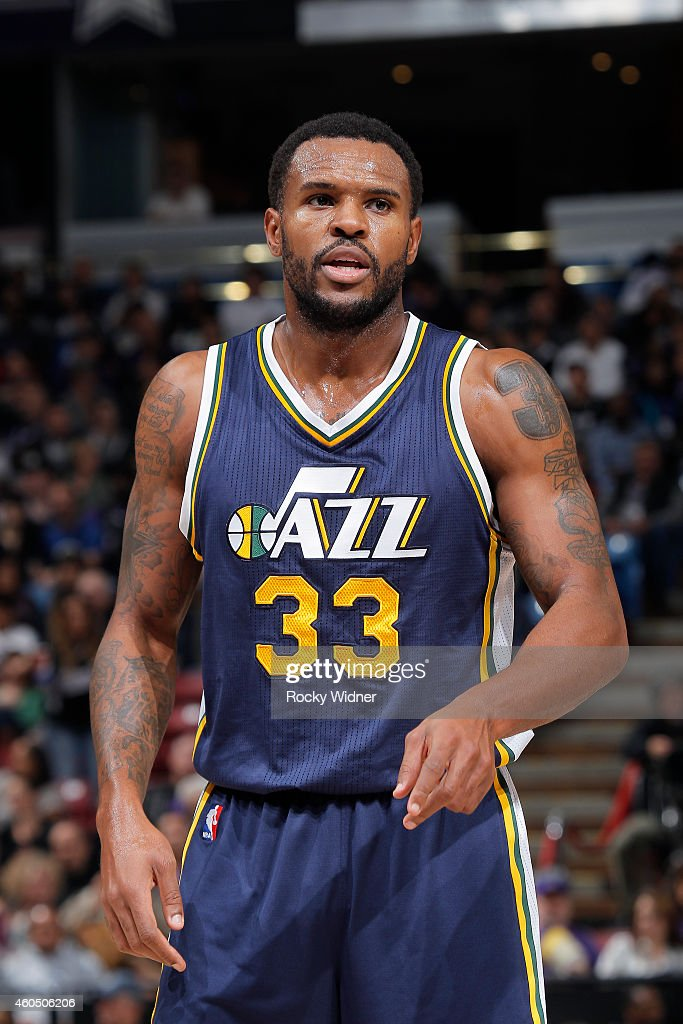 Trevor Booker of the Utah Jazz stands on the court during the game against the Sacramento Kings on December 8 2014 at Sleep Train Arena in Sacramento...