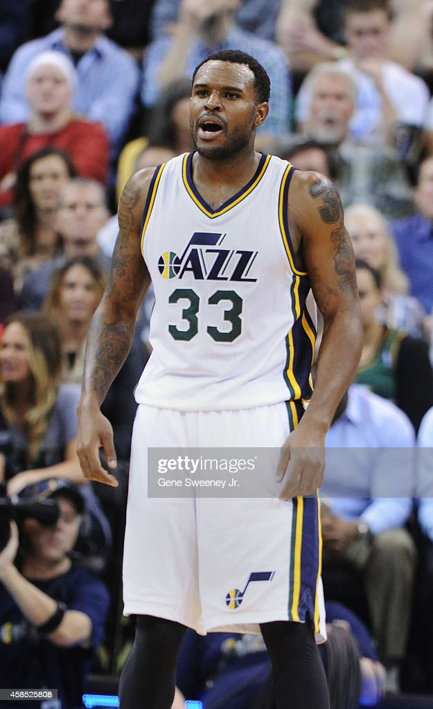 Trevor Booker of the Utah Jazz yells during their game against the Cleveland Cavaliers at EnergySolutions Arena on November 5 2014 in Salt Lake City...