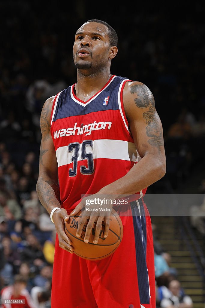 <a gi-track='captionPersonalityLinkClicked' href=/galleries/search?phrase=Trevor+Booker&family=editorial&specificpeople=4123563 ng-click='$event.stopPropagation()'>Trevor Booker</a> #35 of the Washington Wizards attempts a free throw against the Golden State Warriors on March 23, 2013 at Oracle Arena in Oakland, California.