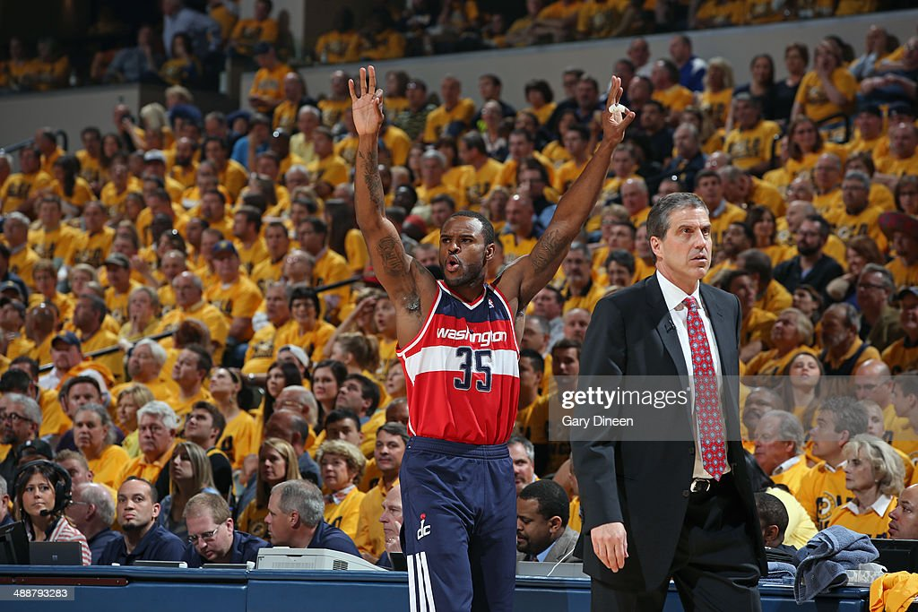 <a gi-track='captionPersonalityLinkClicked' href=/galleries/search?phrase=Trevor+Booker&family=editorial&specificpeople=4123563 ng-click='$event.stopPropagation()'>Trevor Booker</a> #35 of the Washington Wizards celebrates during Game One of the Eastern Conference Semifinals against the Indiana Pacers on May 5, 2014 at Bankers Life Fieldhouse in Indianapolis, Indiana.