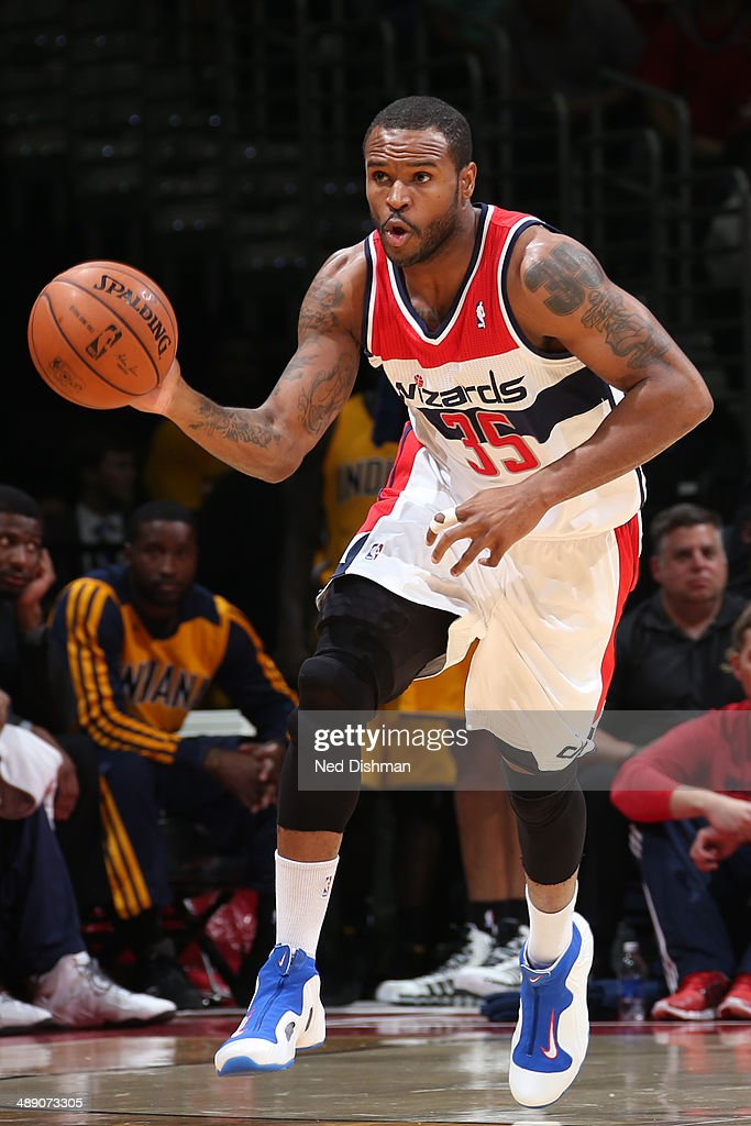 <a gi-track='captionPersonalityLinkClicked' href=/galleries/search?phrase=Trevor+Booker&family=editorial&specificpeople=4123563 ng-click='$event.stopPropagation()'>Trevor Booker</a> #35 of the Washington Wizards dribbles up the court against the Indiana Pacers in Game Three of the Eastern Conference Semi-Finals during the 2014 NBA Playoffs at the Verizon Center on May 9, 2014 in Washington, DC.