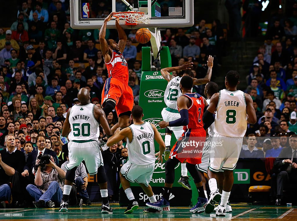Trevor Booker #35 of the Washington Wizards dunks an alley-oop against the Boston Celtics in the second quarter during the game at TD Garden on April 16, 2014 in Boston, Massachusetts.