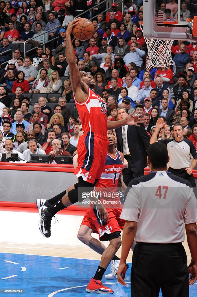 Trevor Booker of the Washington Wizards dunks during a game against the Los Angeles Clippers at STAPLES Center on January 29 2014 in Los Angeles...