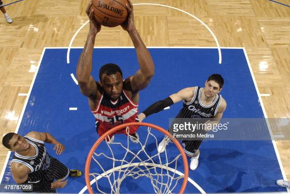 Trevor Booker of the Washington Wizards dunks the ball against the Orlando Magic during the game on March 14 2014 at Amway Center in Orlando Florida...