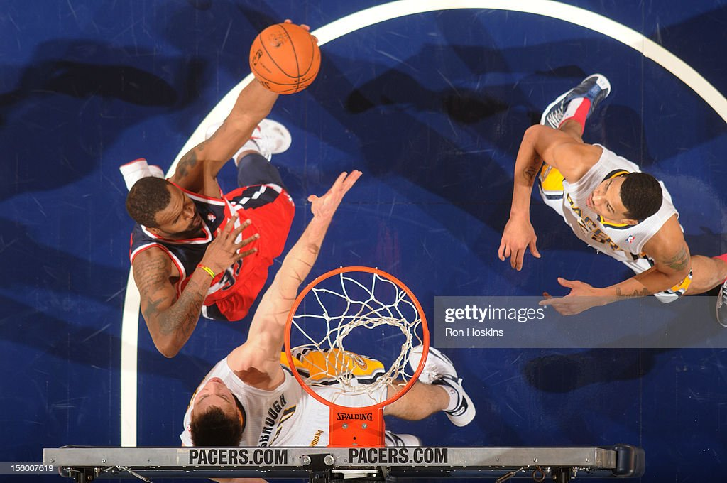 <a gi-track='captionPersonalityLinkClicked' href=/galleries/search?phrase=Trevor+Booker&family=editorial&specificpeople=4123563 ng-click='$event.stopPropagation()'>Trevor Booker</a> #35 of the Washington Wizards goes to the basket during the game between the Indiana Pacers and the Washington Wizards on November 10, 2012 at Bankers Life Fieldhouse in Indianapolis, Indiana.