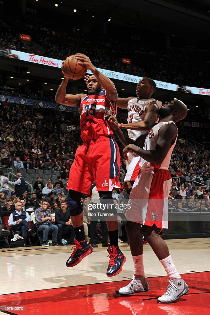 Trevor Booker #35 of the Washington Wizards grabs a rebound against against the Toronto Raptors on April 3, 2013 at the Air Canada Centre in Toronto, Ontario, Canada.