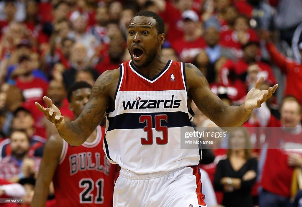 <a gi-track='captionPersonalityLinkClicked' href=/galleries/search?phrase=Trevor+Booker&family=editorial&specificpeople=4123563 ng-click='$event.stopPropagation()'>Trevor Booker</a> #35 of the Washington Wizards reacts to a foul call against the Chicago Bulls in fourth quarter action of Game 3 of the Eastern Conference Quarterfinals during the 2014 NBA Playoffs at the Verizon Center on April 25, 2014 in Washington, DC. Chicago won the game 100-97.
