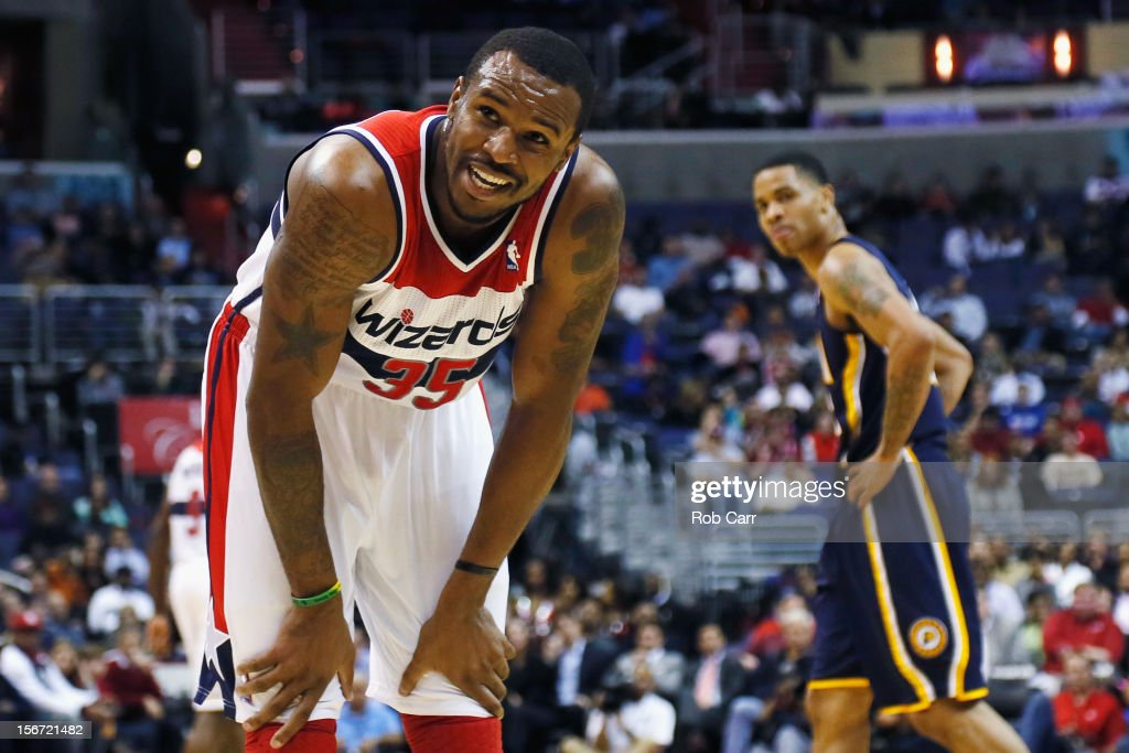 <a gi-track='captionPersonalityLinkClicked' href=/galleries/search?phrase=Trevor+Booker&family=editorial&specificpeople=4123563 ng-click='$event.stopPropagation()'>Trevor Booker</a> #35 of the Washington Wizards reacts to a foul call during the first half against the Indiana Pacers at Verizon Center on November 19, 2012 in Washington, DC.