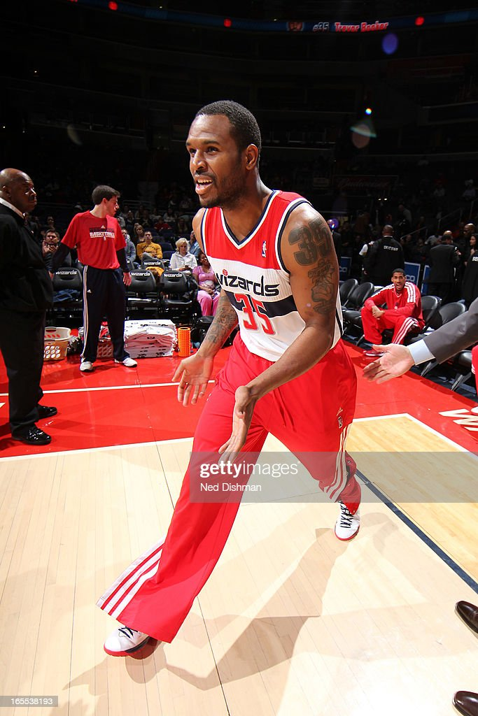 <a gi-track='captionPersonalityLinkClicked' href=/galleries/search?phrase=Trevor+Booker&family=editorial&specificpeople=4123563 ng-click='$event.stopPropagation()'>Trevor Booker</a> #35 of the Washington Wizards runs out before the game against the Toronto Raptors at the Verizon Center on March 31, 2013 in Washington, DC.