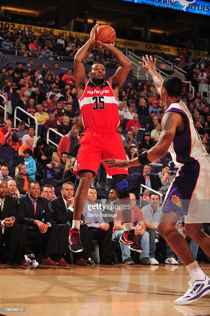 Trevor Booker #35 of the Washington Wizards shoots against Phoenix Suns on February 20, 2012 at U.S. Airways Center in Phoenix, Arizona.