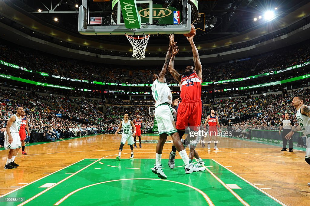 Trevor Booker #35 of the Washington Wizards shoots against the Boston Celtics on April 16, 2014 at the TD Garden in Boston, Massachusetts.