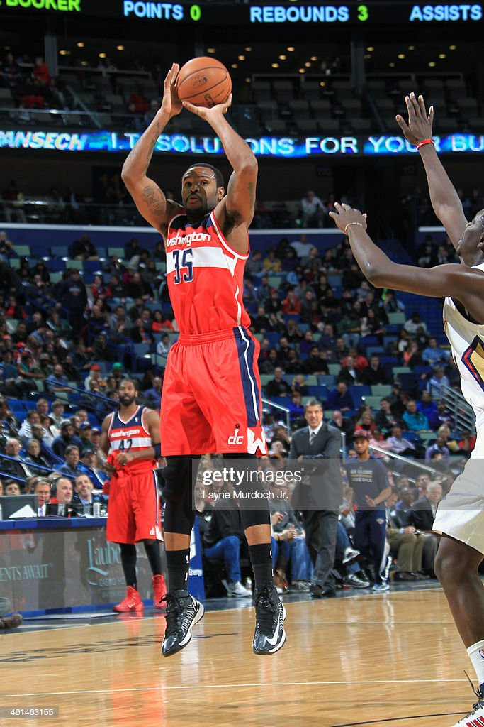 Trevor Booker of the Washington Wizards shoots the ball against the New Orleans Pelicans during an NBA game on January 8 2014 at the New Orleans...