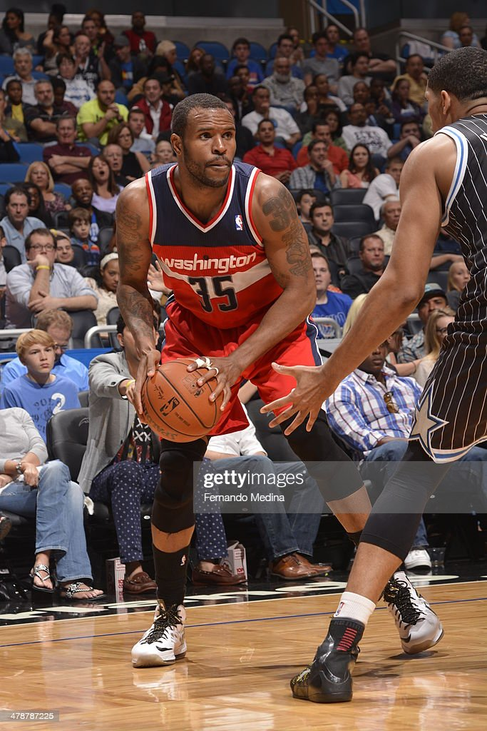 Trevor Booker of the Washington Wizards shoots the ball against the Orlando Magic during the game on March 14 2014 at Amway Center in Orlando Florida...