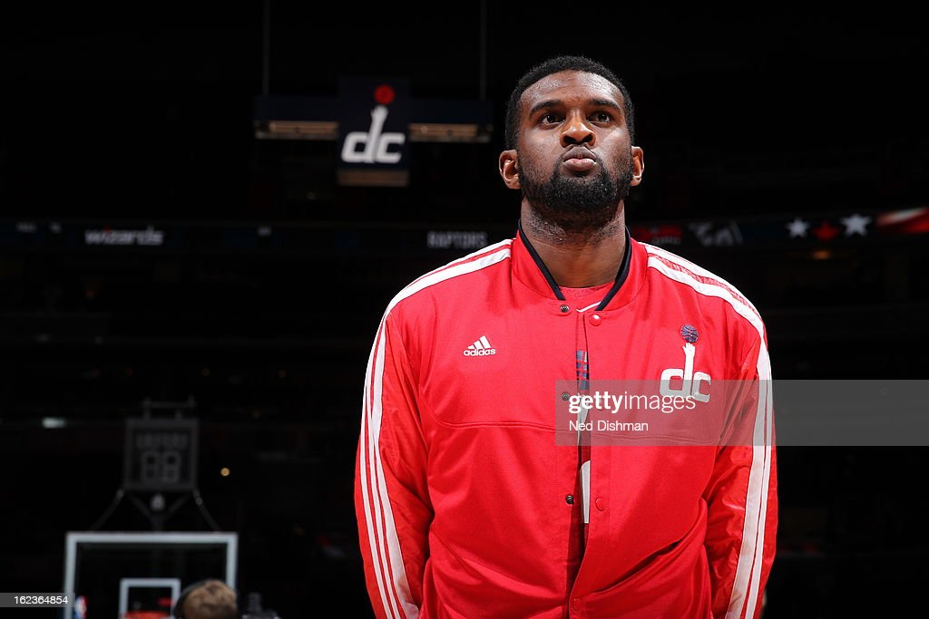 <a gi-track='captionPersonalityLinkClicked' href=/galleries/search?phrase=Trevor+Booker&family=editorial&specificpeople=4123563 ng-click='$event.stopPropagation()'>Trevor Booker</a> #35 of the Washington Wizards stand on the court during the game against the Toronto Raptors at the Verizon Center on February 19, 2013 in Washington, DC.