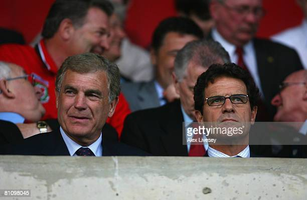 Trevor Brooking the FA's Director of Football Development and Fabio Capello the manager of England watch the Nationwide Under 21 International...