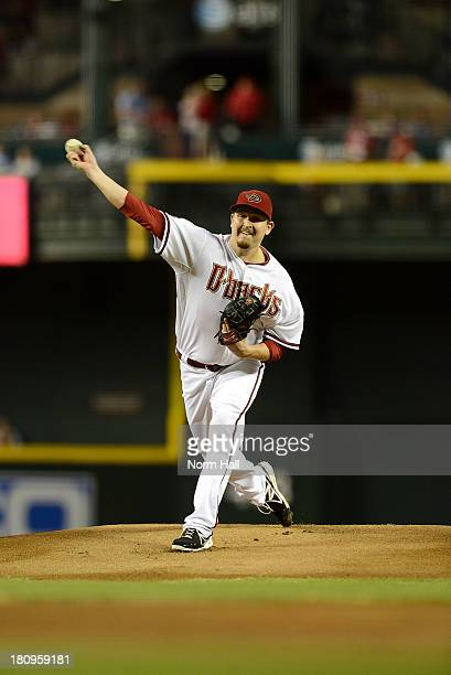 Trevor Cahill of the Arizona Diamondbacks delivers a pitch against the Los Angeles Dodgers at Chase Field on September 16 2013 in Phoenix Arizona