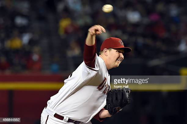 Trevor Cahill of the Arizona Diamondbacks delivers a pitch against the St Louis Cardinals at Chase Field on September 26 2014 in Phoenix Arizona