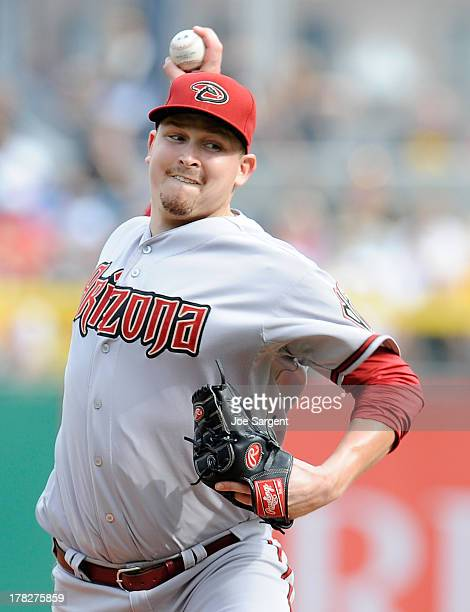 Trevor Cahill of the Arizona Diamondbacks pitches against the Pittsburgh Pirates on August 17 2013 at PNC Park in Pittsburgh Pennsylvania
