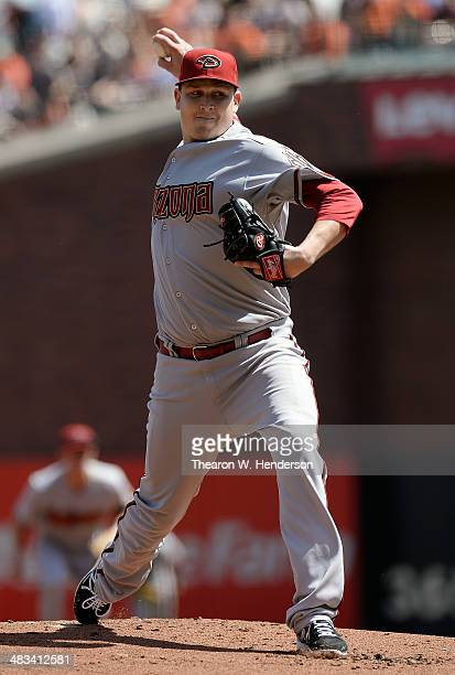Trevor Cahill of the Arizona Diamondbacks pitches against the San Francisco Giants in the bottom of the first inning at ATT Park on April 8 2014 in...