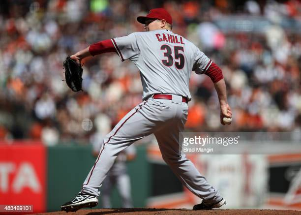 Trevor Cahill of the Arizona Diamondbacks pitches against the San Francisco Giants during the game at ATT Park on Tuesday April 8 2014 in San...