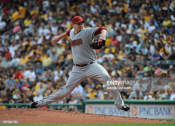 Trevor Cahill of the Arizona Diamondbacks pitches during a game against the Pittsburgh Pirates at PNC Park on August 17 2013 in Pittsburgh...