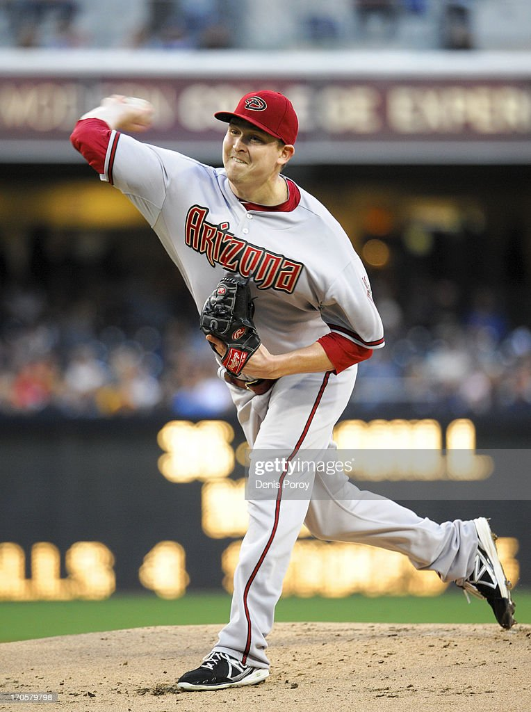 <a gi-track='captionPersonalityLinkClicked' href=/galleries/search?phrase=Trevor+Cahill&family=editorial&specificpeople=5437061 ng-click='$event.stopPropagation()'>Trevor Cahill</a> #35 of the Arizona Diamondbacks pitches during the first inning of a baseball game against the San Diego Padres at Petco Park on June 14, 2013 in San Diego, California.