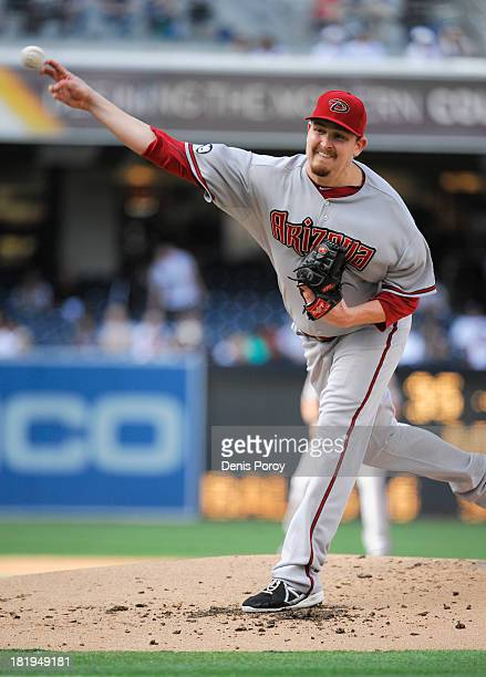 Trevor Cahill of the Arizona Diamondbacks pitches during the first inning of a baseball game against the San Diego Padres at Petco Park on September...
