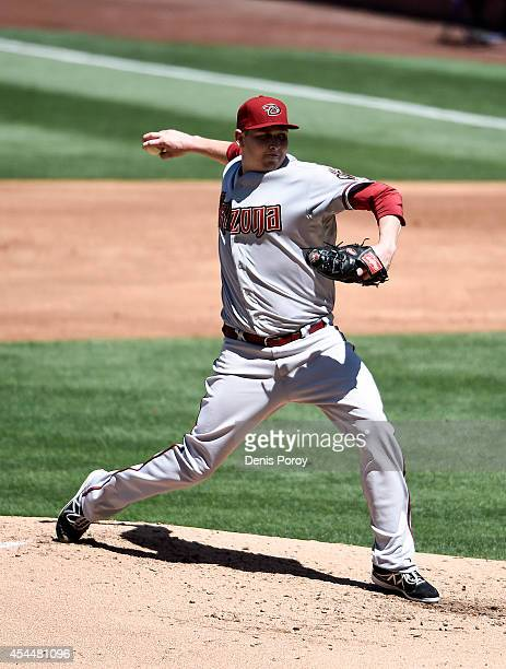 Trevor Cahill of the Arizona Diamondbacks pitches during the fourth inning of a baseball game against the San Diego Padres at Petco Park September...