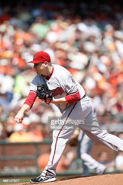 Trevor Cahill of the Arizona Diamondbacks pitches during the game against the San Francisco Giants at ATT Park on April 8 2014 in San Francisco...