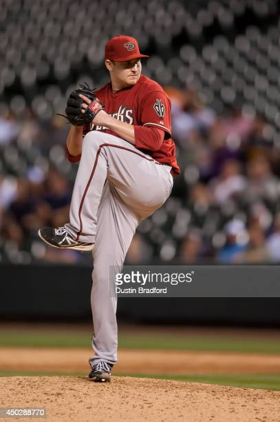 Trevor Cahill of the Arizona Diamondbacks pitches in the ninth inning of a game against the Colorado Rockies at Coors Field on June 4 2014 in Denver...