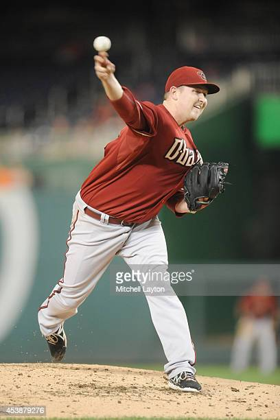 Trevor Cahill of the Arizona Diamondbacks pitches in the second inning during a baseball game against the Washington Nationals on August 20 2014 at...