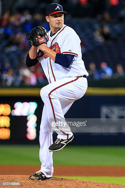 Trevor Cahill of the Atlanta Braves pitches during the game against the Washington Nationals at Turner Field on April 29 2015 in Atlanta Georgia