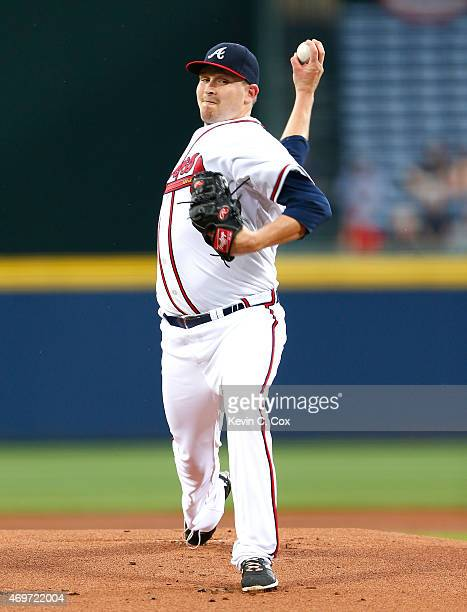 Trevor Cahill of the Atlanta Braves pitches in the first inning to the Miami Marlins during his Braves debut at Turner Field on April 14 2015 in...