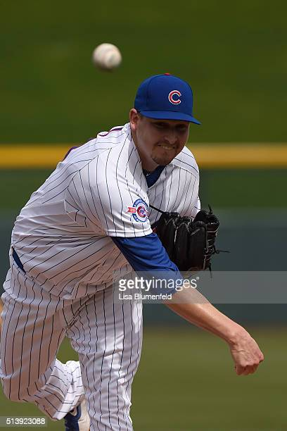 Trevor Cahill of the Chicago Cubs pitches against the Cincinnati Reds on March 5 2016 in Mesa Arizona