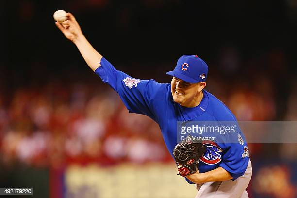 Trevor Cahill of the Chicago Cubs throws a pitch in the eighth inning against the St Louis Cardinals during game two of the National League Division...