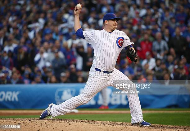 Trevor Cahill of the Chicago Cubs throws a pitch in the sixth inning against the St Louis Cardinals during game four of the National League Division...