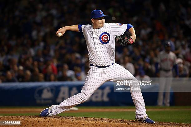 Trevor Cahill of the Chicago Cubs throws a pitch in the sixth inning against the New York Mets during game four of the 2015 MLB National League...