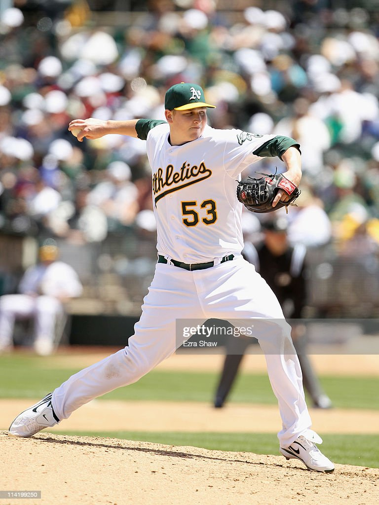 Trevor Cahill #53 of the Oakland Athletics pitches against the Chicago White Sox at Oakland-Alameda County Coliseum on May 15, 2011 in Oakland, California.