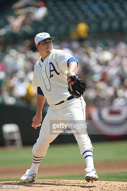 Trevor Cahill of the Oakland Athletics pitching during the game against the Chicago White Sox during the 1929themed turn back the clock game at the...