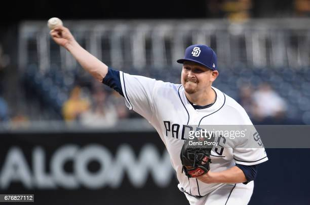 Trevor Cahill of the San Diego Padres pitches during the first inning of a baseball game against the Colorado Rockies at PETCO Park on May 2 2017 in...