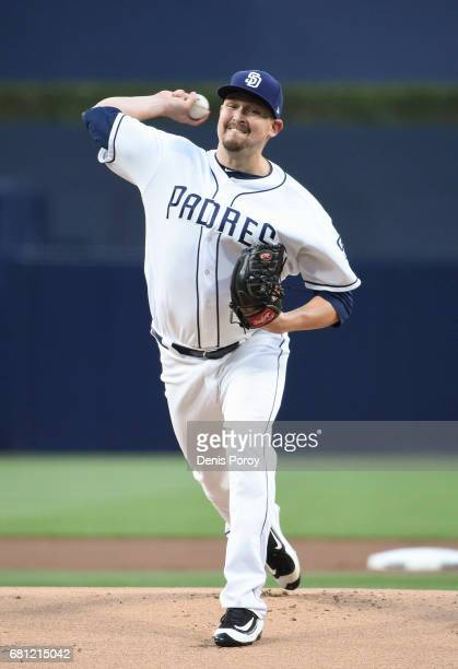 Trevor Cahill of the San Diego Padres pitches during the first inning of a baseball game against the Texas Rangers at PETCO Park on May 8 2017 in San...