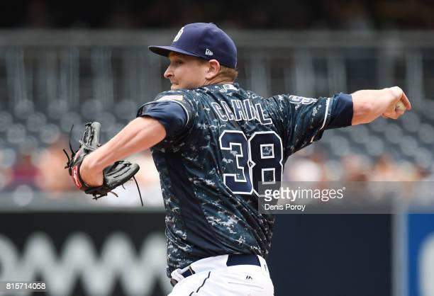 Trevor Cahill of the San Diego Padres pitches during the first inning of a baseball game against the San Francisco Giants at PETCO Park on July 16...