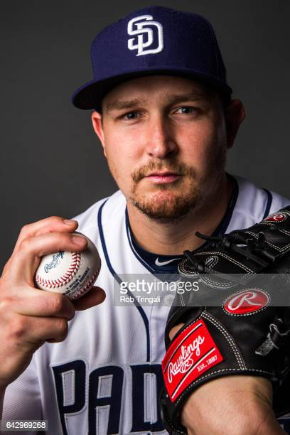 Trevor Cahill of the San Diego Padres poses for a portrait at the Peoria Sports Complex on February 19 2017 in Peoria Arizona