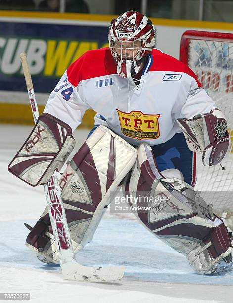 Trevor Cann of the Peterborough Petes gets set to face a shot against the Oshawa Generals at the Memorial Centre on March 10 2007 in Peterborough...
