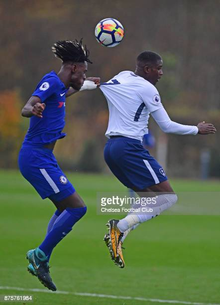 Trevor Chalobah of Chelsea in action during the Premier league 2 match between Tottenham Hotspur and Chelsea on November 18 2017 in Enfield England