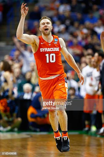 Trevor Cooney of the Syracuse Orange reacts after a basket in the second half against the Dayton Flyers during the first round of the 2016 NCAA Men's...