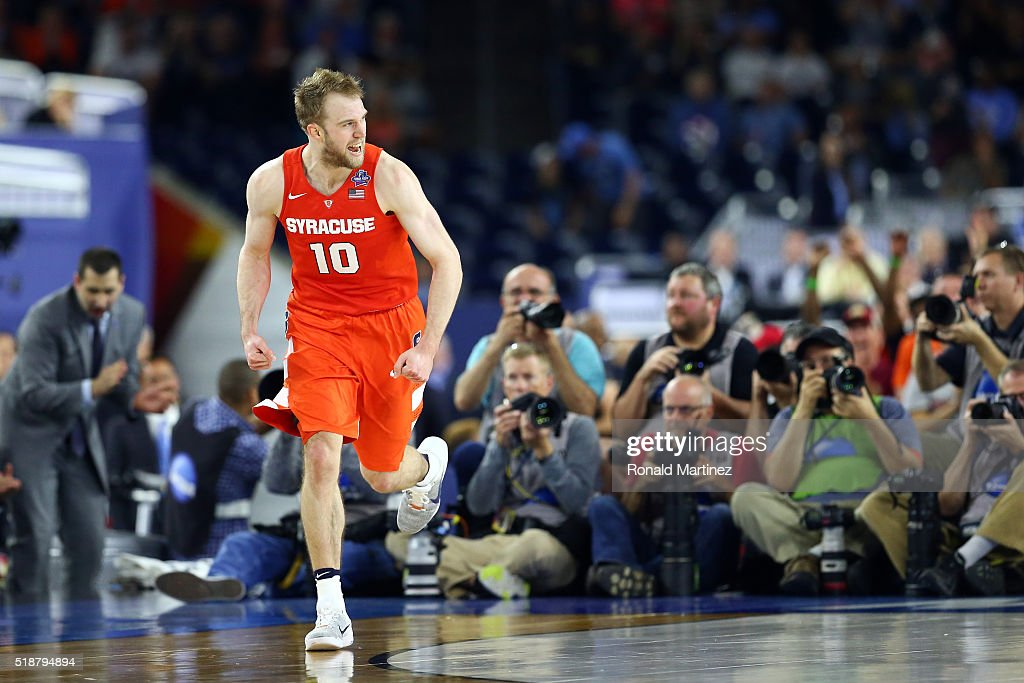 <a gi-track='captionPersonalityLinkClicked' href=/galleries/search?phrase=Trevor+Cooney&family=editorial&specificpeople=7117579 ng-click='$event.stopPropagation()'>Trevor Cooney</a> #10 of the Syracuse Orange reacts in the second half against the North Carolina Tar Heels during the NCAA Men's Final Four Semifinal at NRG Stadium on April 2, 2016 in Houston, Texas.