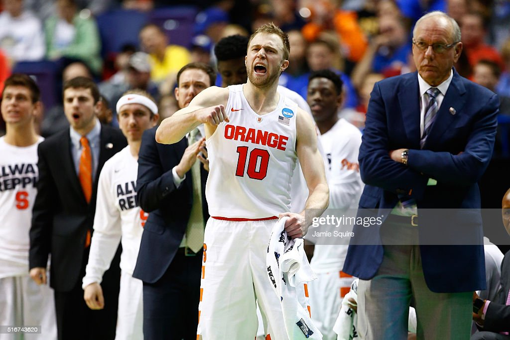 <a gi-track='captionPersonalityLinkClicked' href=/galleries/search?phrase=Trevor+Cooney&family=editorial&specificpeople=7117579 ng-click='$event.stopPropagation()'>Trevor Cooney</a> #10 of the Syracuse Orange reacts on the bench in the second half against the Middle Tennessee Blue Raiders during the second round of the 2016 NCAA Men's Basketball Tournament at Scottrade Center on March 20, 2016 in St Louis, Missouri.