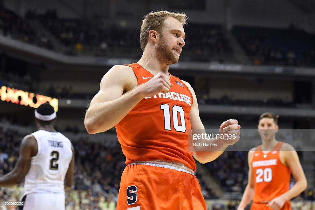 <a gi-track='captionPersonalityLinkClicked' href=/galleries/search?phrase=Trevor+Cooney&family=editorial&specificpeople=7117579 ng-click='$event.stopPropagation()'>Trevor Cooney</a> #10 of the Syracuse Orange reacts to a play against the Pittsburgh Panthers during the second half at the Petersen Events Center on December 30, 2015 in Pittsburgh, Pennsylvania. Pittsburgh won 72-61.